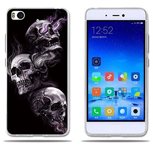 Funda para Xiaomi Mi5S-Fubaoda-Dibujo Artistico con 3 Cráneos, Gel de Silicona TPU, Amortigua los Golpes, Funda Protectora para para Xiaomi Mi5S (2016) (5.15')