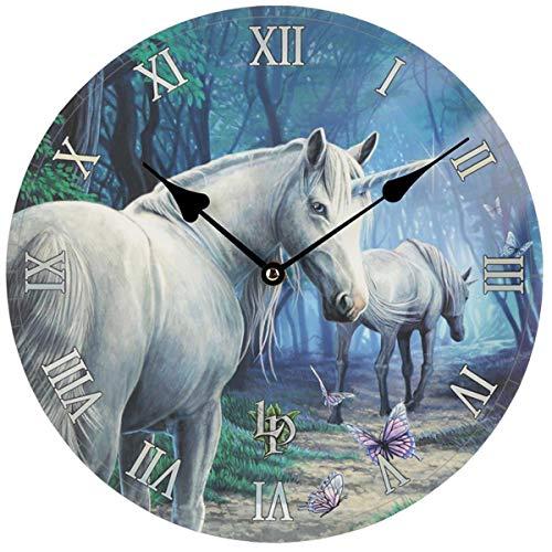 Lisa Parker Reloj de Pared, diseño de Unicornio, Madera MDF, Multicolor, Height 30cm Width 30cm Depth 3.5cm