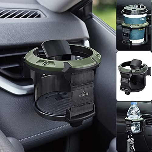 Soporte para bebidas tazas de café para la ventilación del coche, compatible con bebidas blandas de 7,5 cm de diámetro, para agua, café, botellas, gancho inferior para llaves y objetos pequeños
