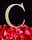 Unik Occasions Collection Crystal Rhinestone Letter-C Wedding Cake Topper, Small, Gold