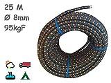 MAGMA Elastisches Seil | Gummiseil mit 8 mm Durchmesser | Für Angeln, Segeln, Bootfahren, Camping & Tarpaulin-Planen | Für Innen, Außen, Küche, Werkstatt & Garten | 25 m lang, Schwarz