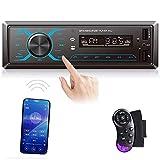 1 DIN Radio de Coche Control de Aplicación de Teléfono Móvil CAMECHO Botón Táctil Coche Radio Bluetooth Reproductor de MP3 1Din Receptor de Radio FM Dual USB AUX + Control Remoto del Volante