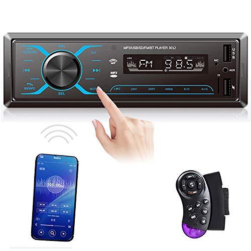 1 Din Autoradio Telefono Controllo APP CAMECHO Auto Radio Bluetooth Vivavoce 1Din Lettore MP3, 75W, Ricevitore Radio FM Doppio USB AUX + Telecomando da Volante