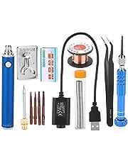 Bärbar laddningsbar lödpenna mini USB lödkolv kit 5 V anti-oxidation med rostfri stålärm (blå)