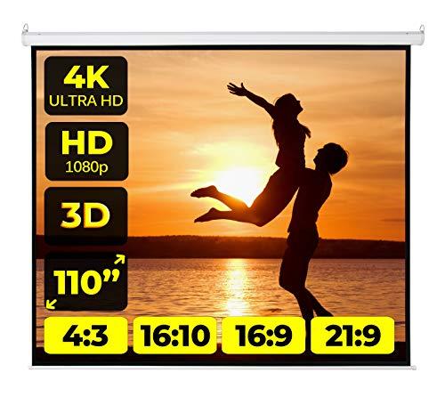 Schermo Proiettore Provis Motorizzato (110 Pollici) 197x197cm Formato 4:3 16:9 16:10 - Bordi 3cm - Telo Elettrico 2 Metri Schermo Proiezione 2mt Telo Proiettore Motore 250cm - Videoproiezione 2 mt