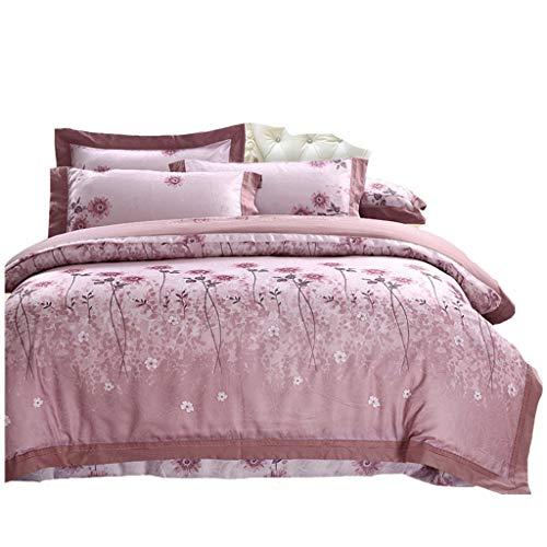 Ensemble de draps Doux - Ensemble de 4 jacquards satinés Confortables (Color : Bean Paste, Size : 1.5 m-1.8 m Bed)