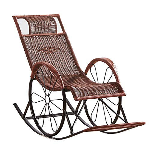 Garden Chairs, Rattan Armchair Wicker Rocking Sofa Relaxing Lounge Chair Metal Frame With Lumbar Pillow & Cushion, Garden Patio Porch Lawn Deck Backyard Furniture