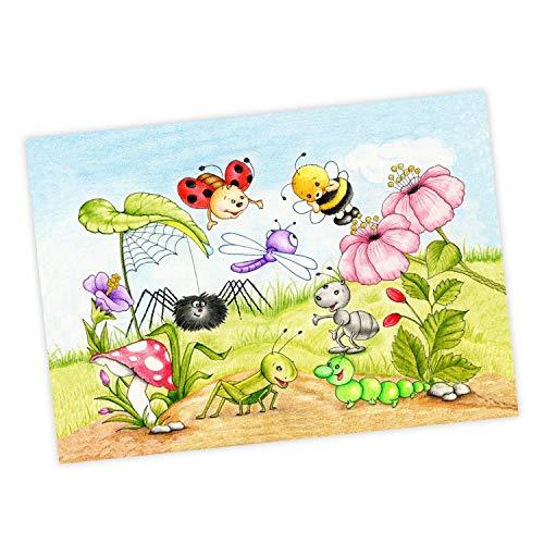 nikima Schönes für Kinder 063 Krabbeltiere Zeichnung - Poster Bild für Das Kinderzimmer oder Babyzimmer - Raupe Marienkäfer Biene Libelle - Wandbild Wanddeko (ohne Rahmen) - Größe DIN A2-594 x 420 mm