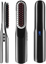 Beard Straightener Brush, Cordless Beard straightening Comb, Portable USB Rechargeable LCD Display Beard Brush Anti Scald Electric Heated Beard & Hair Ionic Straightener Brush for Men & Women