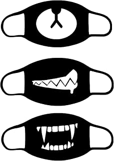 IMIKE Pack of 3 Mouth Mask for Men Women Kids Teens, Anti-dust Cotton Mouth Face Mask Fashion Black Mouth Cover for Running Cycling Camping Travel