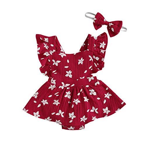 LUCSUN Mameluco de verano con volantes para recién nacidos, con vestido de tul, traje de una pieza