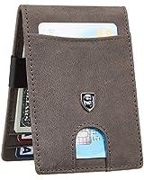 Gostwo Mens Bifold Wallet Money Clip RFID Blocking Travel Wallet Credit Card Holder (Crazy Horse Grey Deep)