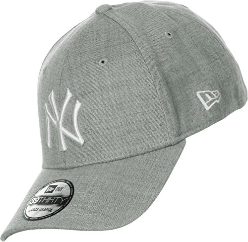 New Era Herren Baseball Cap Mütze M/LB Basic NY Yankees 39Thirty Stretch Back,grau/weiß, S/M