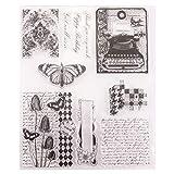 Quadri Sfondo A nido d'ape Lettera Inglese Sfondo Farfalla Telefono Vintage Cancella Francobolli per Carta Decorazione e DIY Scrapbooking