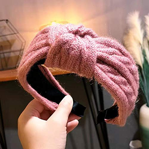 Fuduoduo Diademas para Mujer Turbantes para,Cinta para el Pelo de ala Ancha Anudada de Lana Simple-Violeta,Diadema EláStica para Mujer