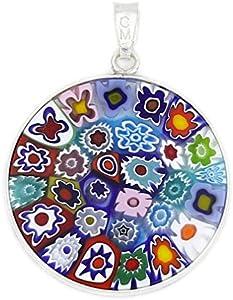 GlassOfVenice Millefiori - Colgante de cristal de Murano, multicolor en marco de plata de 2,5 cm