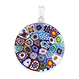 GlassOfVenice Colgante Millefiori de cristal de Murano multicolor en marco de plata de 2,5 cm