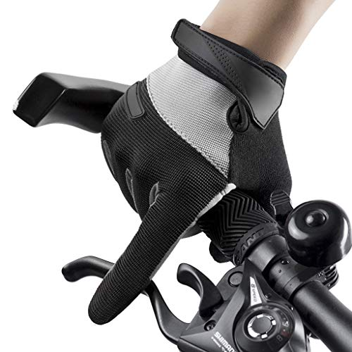 Cycling Gloves,Touch Screen Anti-Slip Riding Gloves, for Junior Boy Girl Youth,Outdoor Sports Road Mountain Bike, Gel Padding Bicycle Full Finger Gloves Pair,Black-XL