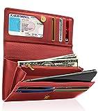Access Denied Leder-Clutch RFID-Brieftasche für Frauen – große Damen-Geldbörse mit Checkbook Cover Geschenke für Frauen - Rot - Mittel
