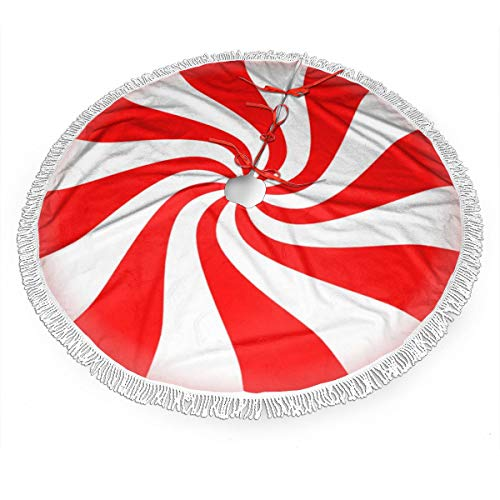 FSnl Red Peppermint Candy Christmas Tree Skirt 48 Inch Large Xmas Tree Skirts with Tassel Holiday Party Decorations (48'')