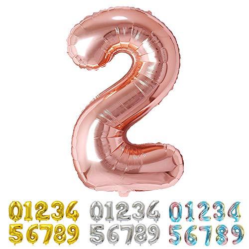 Ponmoo Foil Globo Número 2 Oro Rosa, Gigante Numeros 0 1 2 3 4 5 6 7 8 9 10-19 20-29 30 40 50 60 70 80 90 100, Grande Globos para La Boda Aniversario, Globo de Cumpleaños Fiesta Decoración