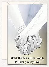 Holding Hands Birthday, Valentine's Day, Love, Hand Drawn Original Poetry Greeting Card