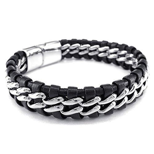 KONOV Jewellery Herren Edelstahl Leder Armband, Einfach Geflochten Armreif, Schwarz Silber (mit Geschenk Tüte)
