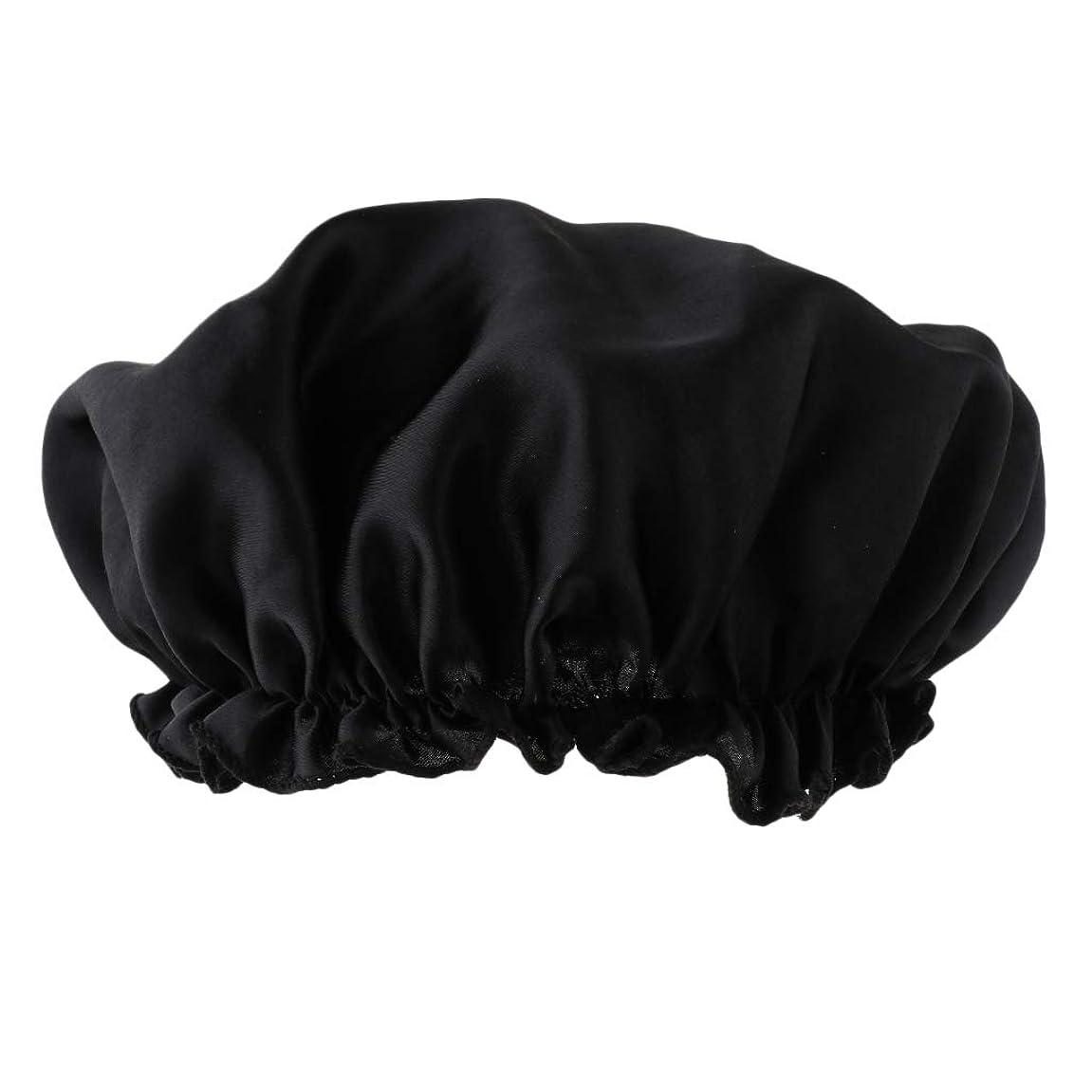 マトロン性能二年生Perfeclan シャワーキャップ シルクサテン ヘアーターバン 入浴キャップ 美容 キャップ 帽子 ヘッドカバー 全8色 - ブラック
