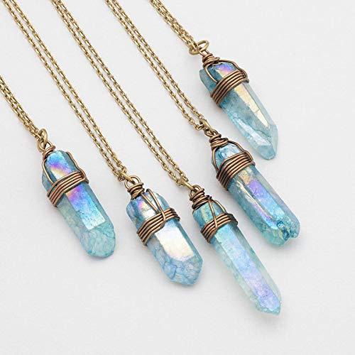 Raw light blue angel aura quartz point antique bronze chain pendant necklace 22 in