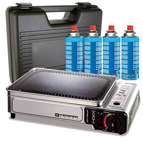 Kemper - Plancha gaz 2300W + 4 cartouches gaz + valise de transport
