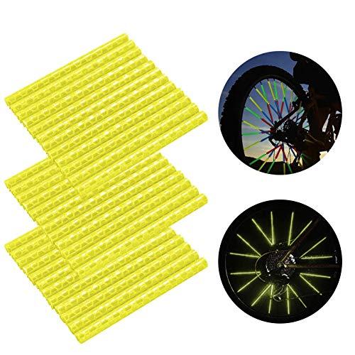 Speichenreflektoren Fahrrad,360° Sichtbarkeit Reflektoren,Fahrradzubehör Reflektoren,Reflektor Clips Fahrrad,Reflektierende Speichensticks,Speichenreflektoren für Sicheres Fahren (36 Stück,Gelb)