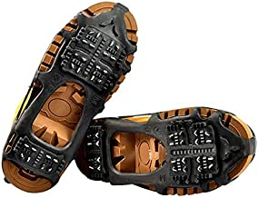 Quadtrek All-Terrain Ice Cleats Traction Cleats Ideal for Snow Hiking Trekking and Walking Compatible with All Shoes Boots Sneakers Sandals and Loafers (Black Medium)
