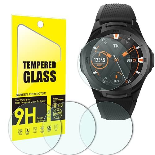 YISPIRIN Protector de pantalla de cristal templado para Ticwatch S2, [4 unidades] dureza 9H, antiarañazos, sin burbujas, transparente, protector de pantalla para Ticwatch S2