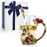 TangDouJM Tazza da Tè in Vetro Smaltato, Tazza da Tè con Fiore Tazza da Caffè con Cucchiaio in Acciaio, Tazze Regalo Personalizzata da Donna, Moglie, Nonna, San Valentino, Regali di Festa Della Mamma