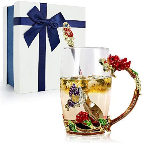 TangDouJM Taza de Té de Vidrio Esmalte Hecha a Mano, Flor de la Taza de Mariposa y Taza de Café, con Cuchara, Idea Regalo Esposa, Mamá, Maestra, Cumpleaños, Día de San Valentín, Día de la Madre (Rojo)