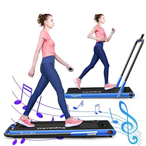 GOPLUS Laufband mit Bluetooth, Klappbares Walking Laufband für Schreibtisch, mit LED-Display, inkl. Fernbedienung, Leicht Verstaubar, Eingebauter Lautsprecher, bis 12 km/h, für Büro & zu Hause (Blau)