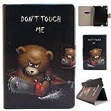 LMFULM® Hülle für Amazon Kindle Fire HDX 7 (7,0 Zoll) (3th Gen 2013 Nur) PU Leder Ultra Dünn Magnetverschluss Faltbare Lederhülle Verrückter Bär Muster Schutzhülle für Kindle Fire HDX 7