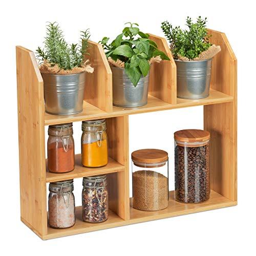 Relaxdays Mensola in Bambù, 6 scomparti, 45,5 x 55 x 16 cm Ripiano Autoportante in Cucina Porta Spezie, Bagno, naturale