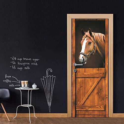 XKLBO Deursticker Muurschilderingen Fotobehang Decal, Bruin Paard,38,5 * 200Cm * 2 Stks 3D Verfrissende Woonkamer Slaapkamer Kantoor Huis Huisdecoratie Kwekerij Restaurant Hotel Café Hd Poster
