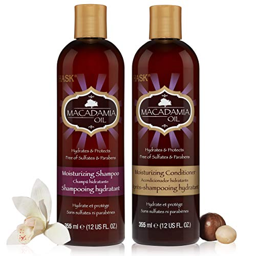 HASK MACADAMIA OIL Moisturizing Shampoo + Conditioner Set for All Hair Types, Color Safe, Gluten-Free, Sulfate-Free, Paraben-Free, Cruelty-Free - 1 Shampoo and 1 Conditioner