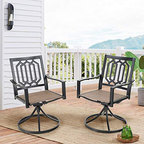 PHI VILLA Patio Dining Chairs, 2 Pieces Weather Resistant Bistro Backyard Chairs Sling Mesh Steel Frame