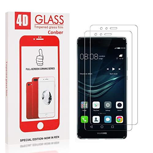 Conber [2 Stück] Displayschutzfolie kompatibel mit Huawei P9, Panzerglas Schutzfolie für Huawei P9 [9H Härte][Hüllenfreundlich]