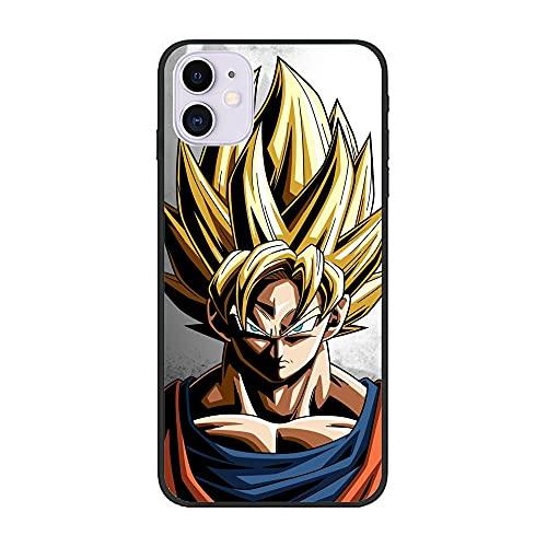 YAOYAN Soft Black Thin Silicone Anti-Slip Fundas Coque Durable Case for Apple iPhone 12 Mini-Goku-DBZ Super Kakarot 7