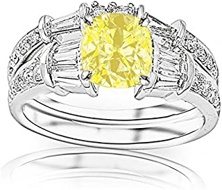 2.33 Carat t.w 14K White Gold Baguette And Round Brilliant Diamond Engagement Ring and Wedding Band Set w/a 1.5 Carat Cushion Cut Yellow Diamond Heirloom Quality