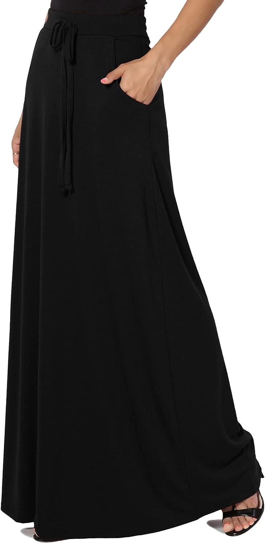 TheMogan S~3X Drawstring Waist Pocket Drapey Jersey A-Line Long Maxi Skirt