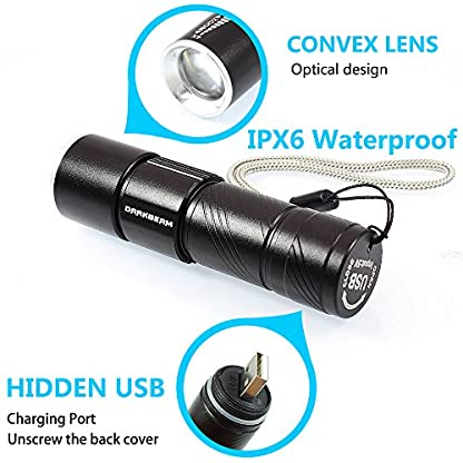 DARKBEAM Blacklight Flashlights USB Rechargeable Portable 395nm Led Flashlight Mini Handheld Torch Black Light Detector for Dog Urine, Pet Stains (395 UV USB Flashlight 2pack) 4