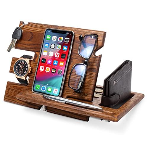 TESLYAR Wood Phone Docking Station Key Holder Wallet Stand Watch Organizer Men Gift Husband Wife...