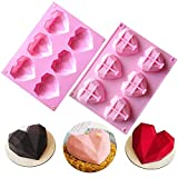 6-Cavity 3D Love Heart Diamond Shaped Mold Silicone Bakeware Molds Chocolate Soap Pudding Cake Handmade Baking Tools Tray Mould DIY Tool