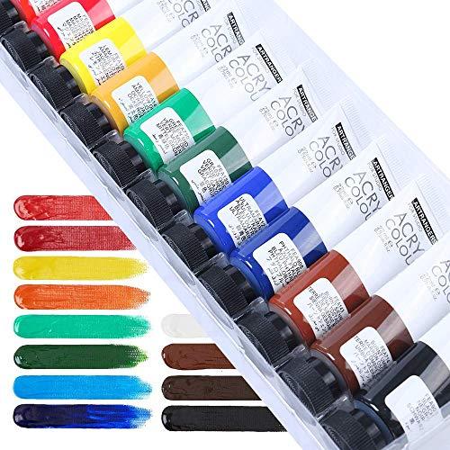 Craftamo Juego de Pintura Acrílica, 12 Tubos de 22ml. Juego de Pintura Acrílica para Uso en Lienzos, o como Pintura para Tela, Modelismo, Vidrio, Arcilla o Artesanía