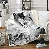 wolf blanket full size - Home Gray Wolf Blanket Comfort Warmth Soft Cozy Air Conditioning Machine Wash Black and White Rose Skull Sherpa Fleece Blanket (Throw 60